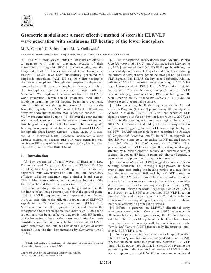 GEOPHYSICAL RESEARCH LETTERS, VOL. 35, L12101, doi:10.1029/2008GL034061, 2008  Click  Here    for FullArticleGeometric mod...