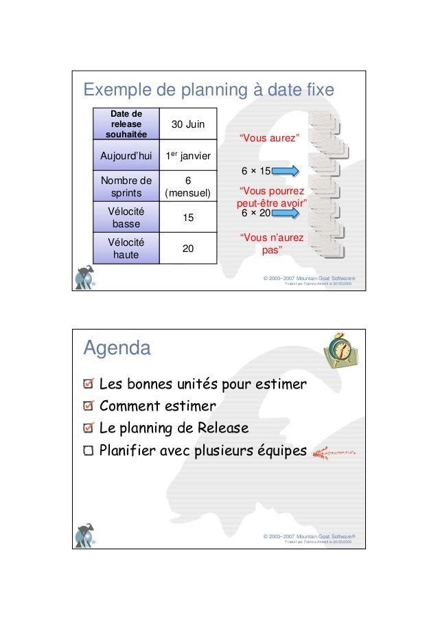 © 2003−2007 Mountain Goat Software Traduit par Fabrice Aimetti le 30/05/2009 ® ® Exemple de planning à date fixe Date de r...
