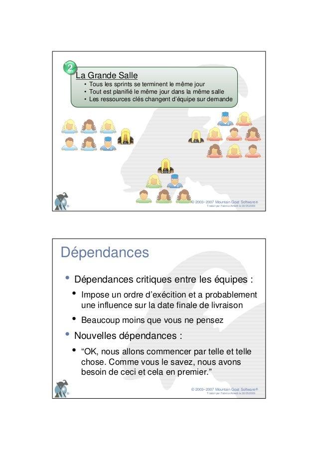 © 2003−2007 Mountain Goat Software Traduit par Fabrice Aimetti le 30/05/2009 ® ® La Grande Salle • Tous les sprints se ter...