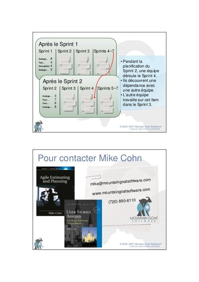 © 2003−2007 Mountain Goat Software Traduit par Fabrice Aimetti le 30/05/2009 ® ® Après le Sprint 1Après le Sprint 1 Sprint...