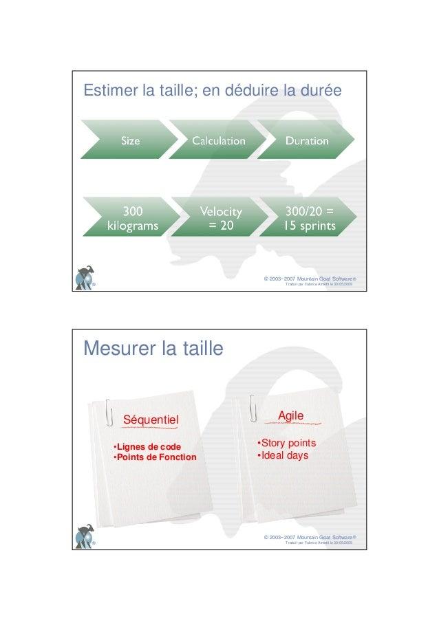 © 2003−2007 Mountain Goat Software Traduit par Fabrice Aimetti le 30/05/2009 ® ® Estimer la taille; en déduire la durée © ...