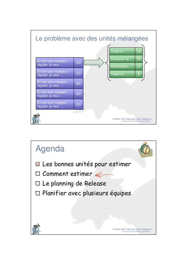 © 2003−2007 Mountain Goat Software Traduit par Fabrice Aimetti le 30/05/2009 ® ® Le problème avec des unités mélangées En ...