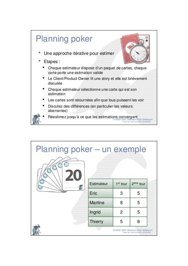 © 2003−2007 Mountain Goat Software Traduit par Fabrice Aimetti le 30/05/2009 ® ® Planning poker • Une approche itérative p...