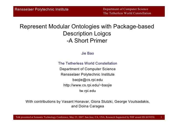 Represent Modular Ontologies with Package-based Description Loigcs -A Short Primer