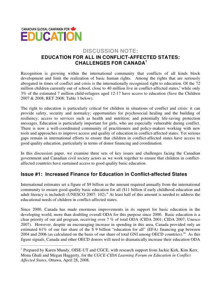 DISCUSSION NOTE:            EDUCATION FOR ALL IN CONFLICT-AFFECTED STATES:                       CHALLENGES FOR CANADA1Rec...