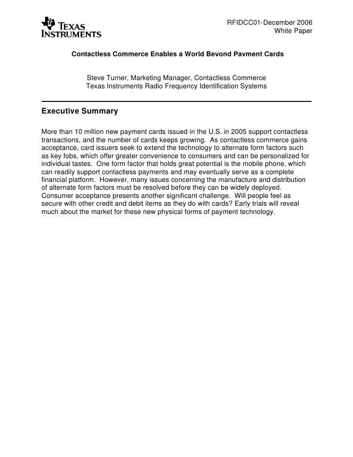 RFIDCC01-December 2006                                                                         White Paper            Cont...