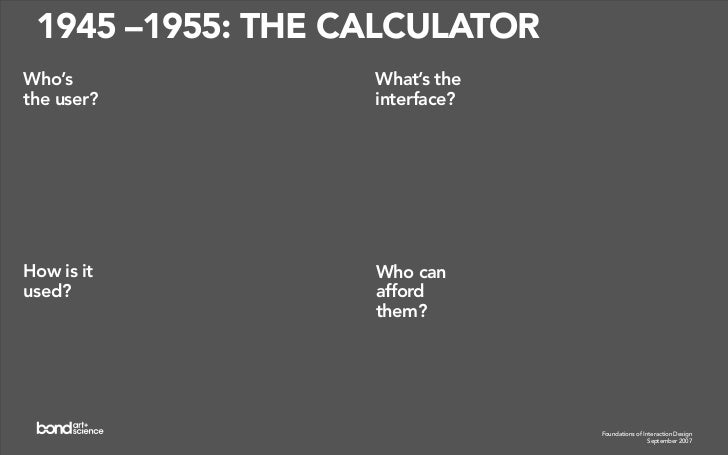 1955 –1965: THE GIANT BRAIN                    What's the Who's the                    interface? user?                   ...