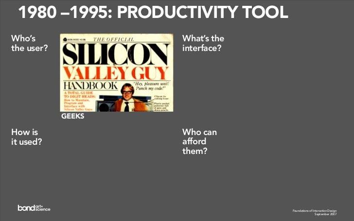 1995 – ?: NETWORKED UBIQUITY Who's                   What's the the user?               interface?                 EVERYON...