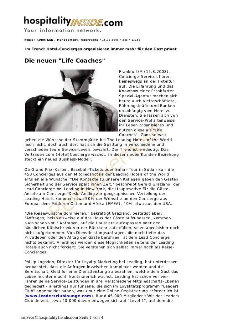home / RUBRIKEN / Management / Operations • 15.08.2008 • 388 • 13158 Im Trend: Hotel-Concierges organisieren immer mehr fü...