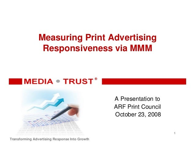 ® ® Transforming Advertising Response Into Growth Measuring Print Advertising Responsiveness via MMM A Presentation to ARF...