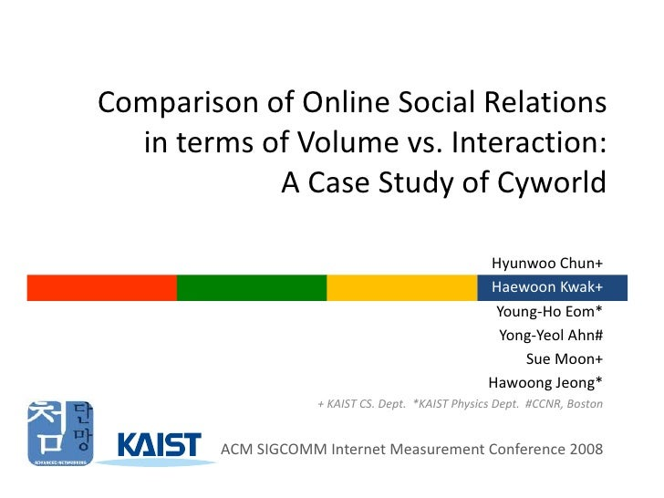 Comparison of Online Social Relations in terms of Volume vs. Interaction: A Case Study of Cyworld<br />Hyunwoo Chun+<br />...