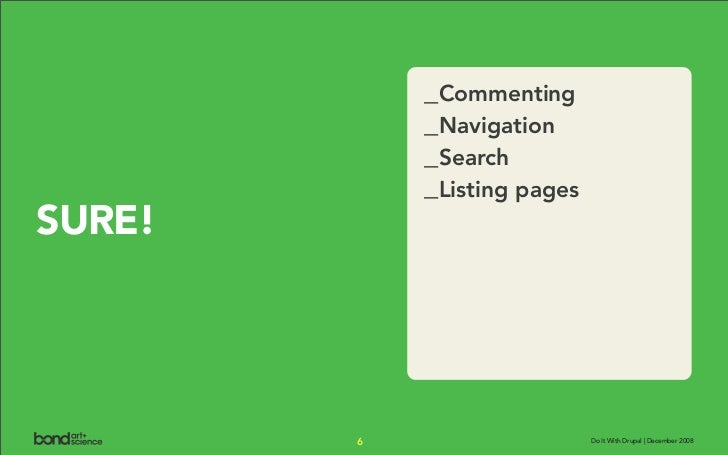 _Commenting             _Navigation             _Search             _Listing pages SURE!             6                    ...