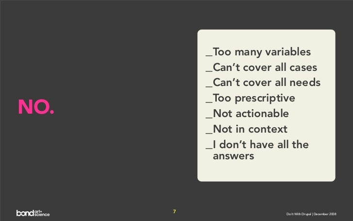 _Too many variables           _Can't cover all cases           _Can't cover all needs           _Too prescriptive NO.     ...