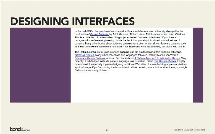 DESIGNING INTERFACES                    21      Do It With Drupal | December 2008