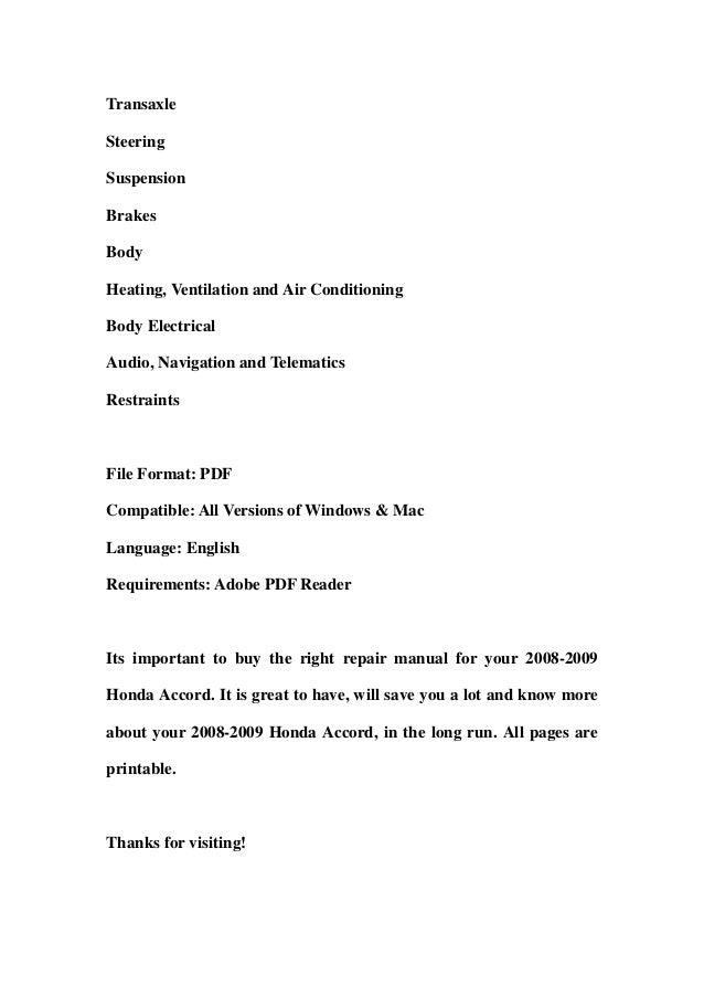 2008 2009 honda accord service repair manual download rh slideshare net 2006 honda accord repair manual pdf 2007 honda accord repair manual