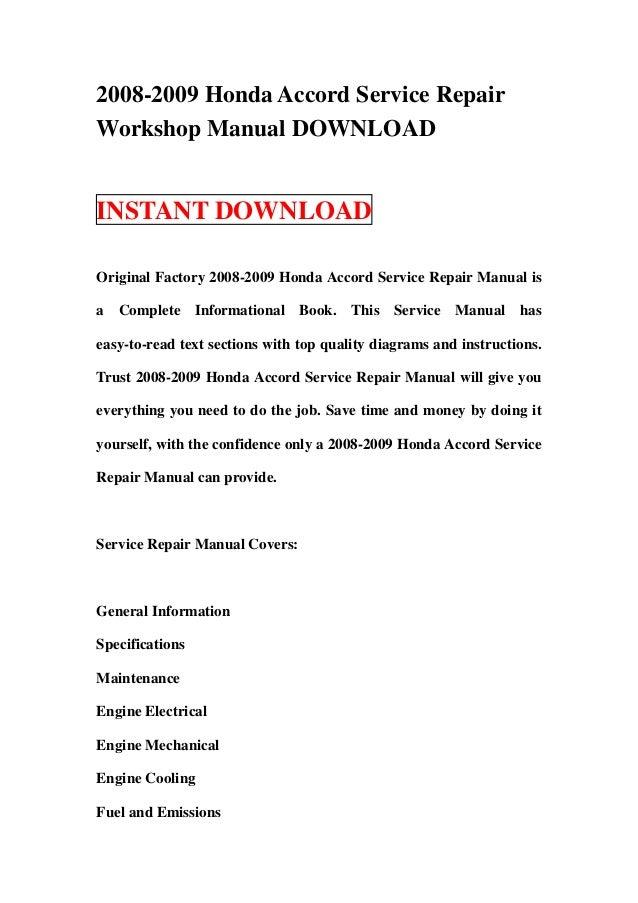 Honda accord 2009 owners manual pdf by isabelgoff4835 issuu.