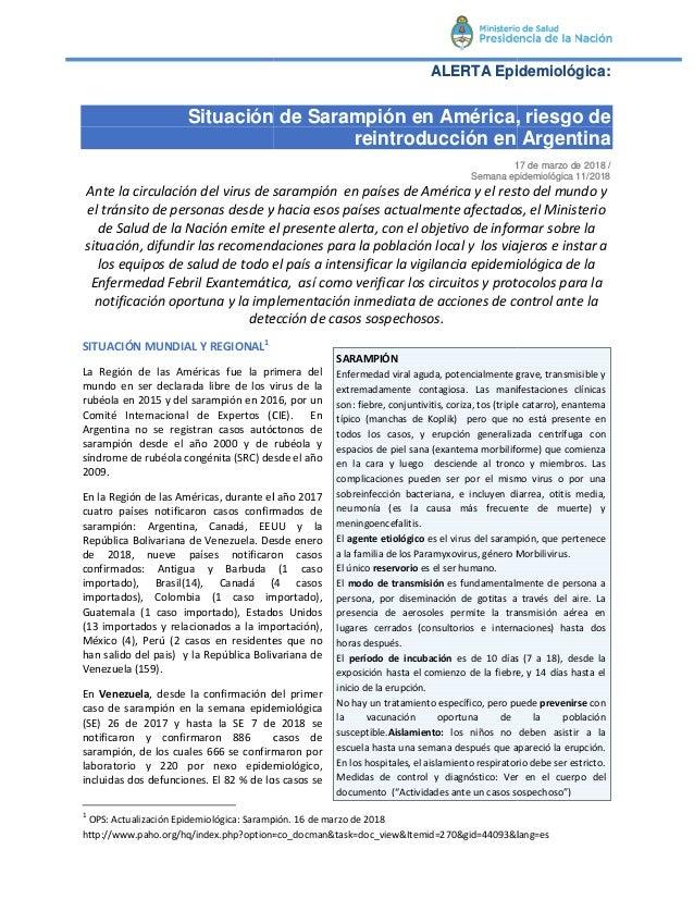 Situación de Sarampión en América, riesgo de Ante la circulación del virus de sarampión en países de América y el resto de...