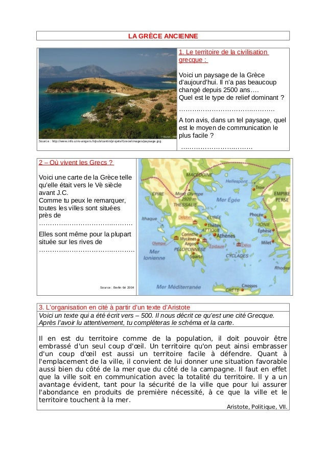 LA GRÈCE ANCIENNE 1. Le territoire de la civilisation grecque : Voici un paysage de la Grèce d'aujourd'hui. Il n'a pas bea...