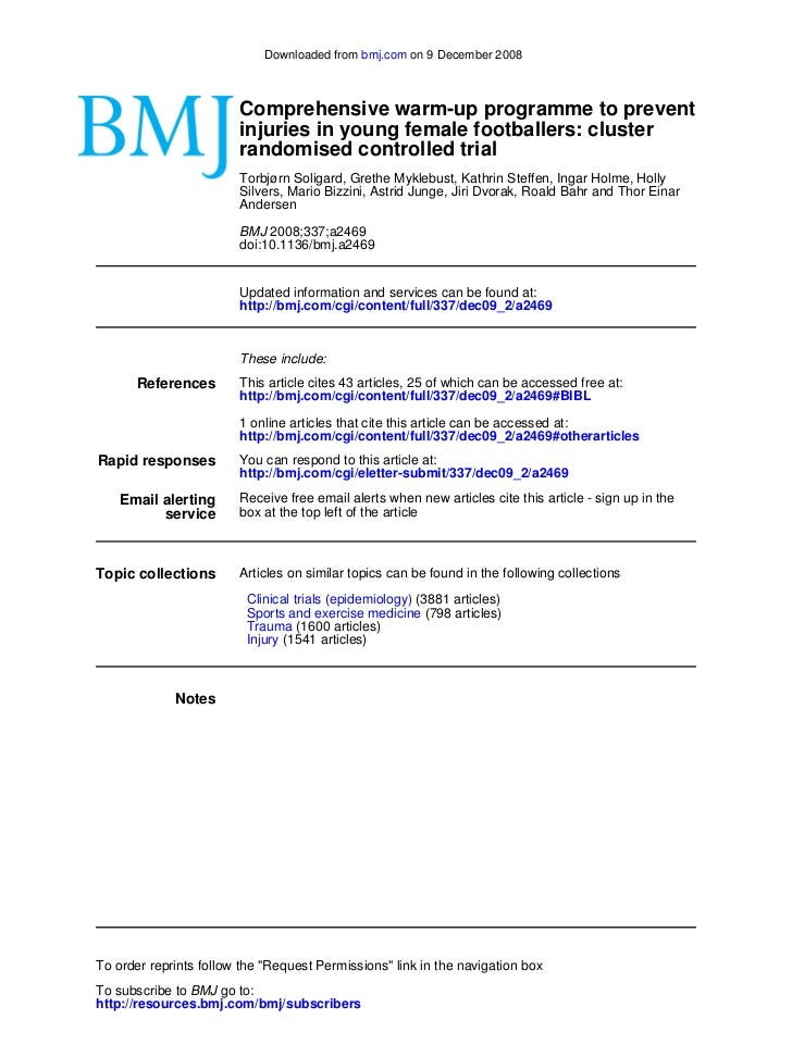 Downloaded from bmj.com on 9 December 2008                        Comprehensive warm-up programme to prevent              ...