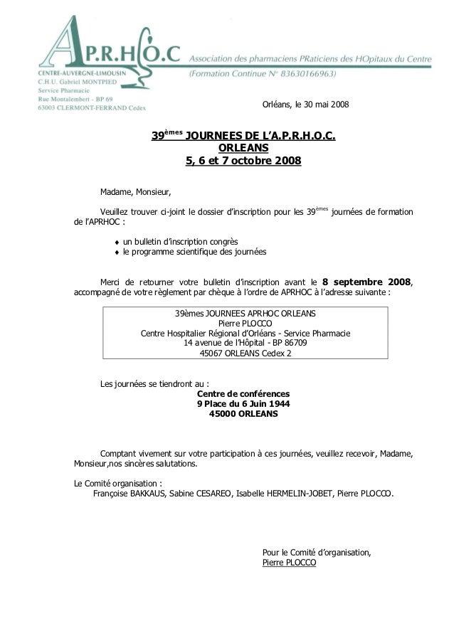 Orléans, le 30 mai 2008                     39èmes JOURNEES DE L'A.P.R.H.O.C.                                   ORLEANS   ...
