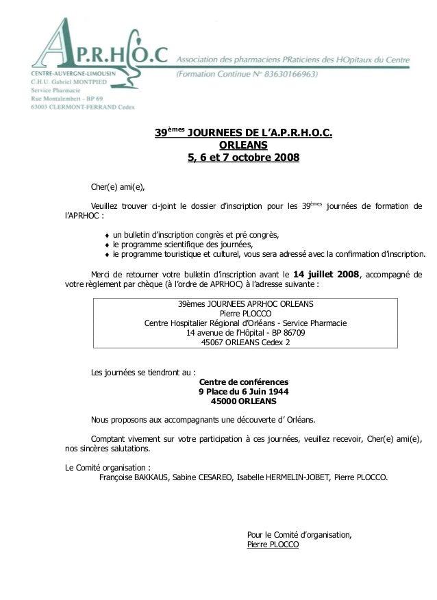 Orléans, le 30 mai 2008                         39èmes JOURNEES DE L'A.P.R.H.O.C.                                       OR...