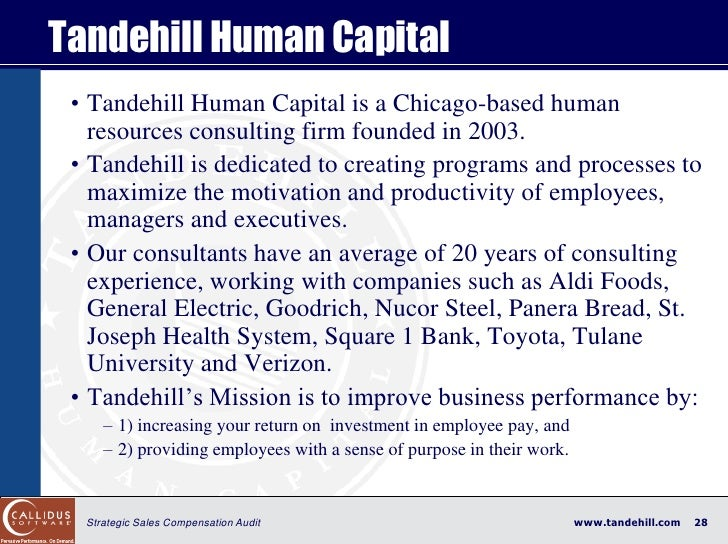 Tandehill Human Capital  • Tandehill Human Capital is a Chicago-based human    resources consulting firm founded in 2003. ...