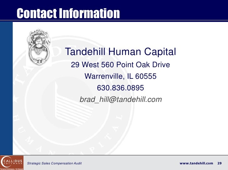 Contact Information                          Tandehill Human Capital                             29 West 560 Point Oak Dri...
