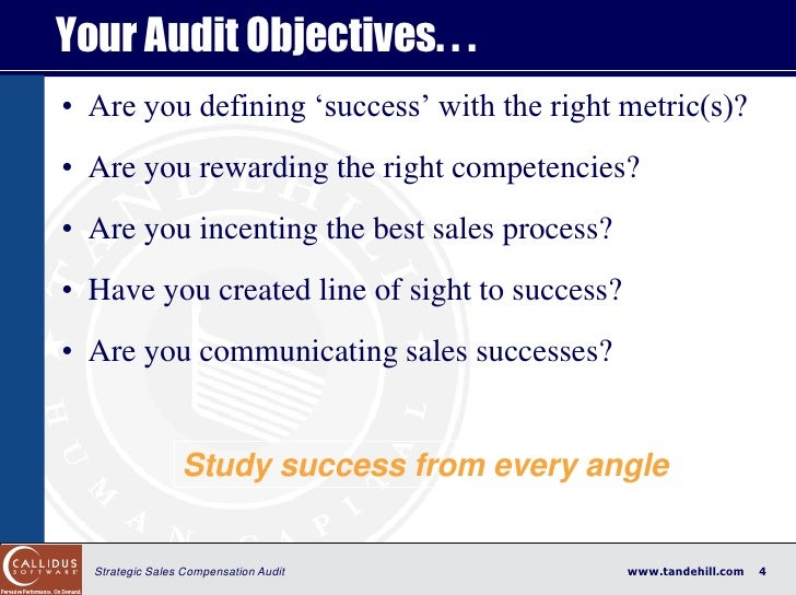 """Your Audit Objectives. . . • Are you defining """"success"""" with the right metric(s)? • Are you rewarding the right competenci..."""