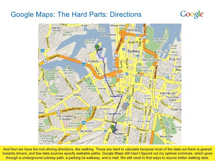 google maps the hard parts directions
