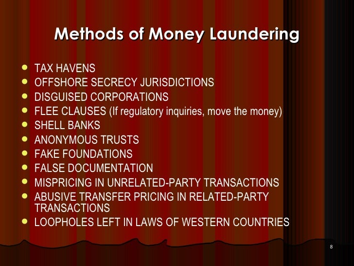 method of money laundering Restaurants are a classic way to move money, says kieran beer, chief analyst  of the association of certified anti-money laundering.