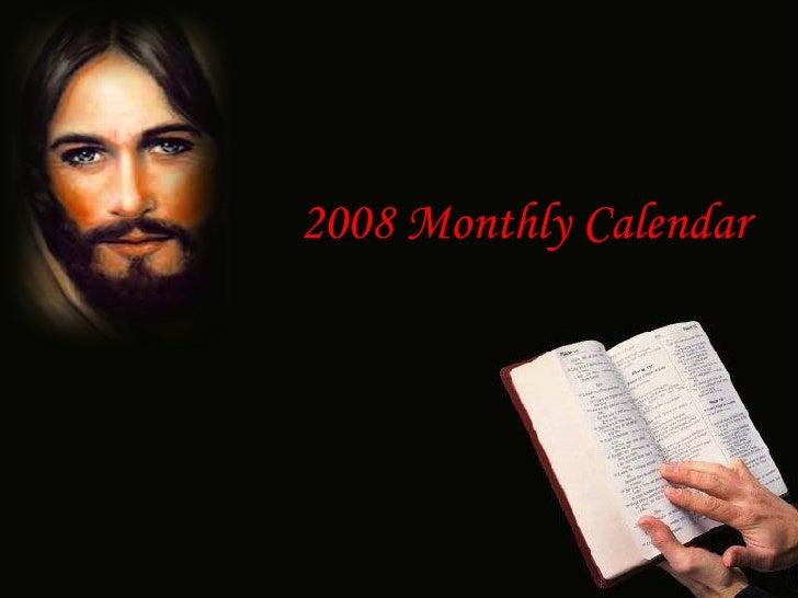 2008 Monthly Calendar