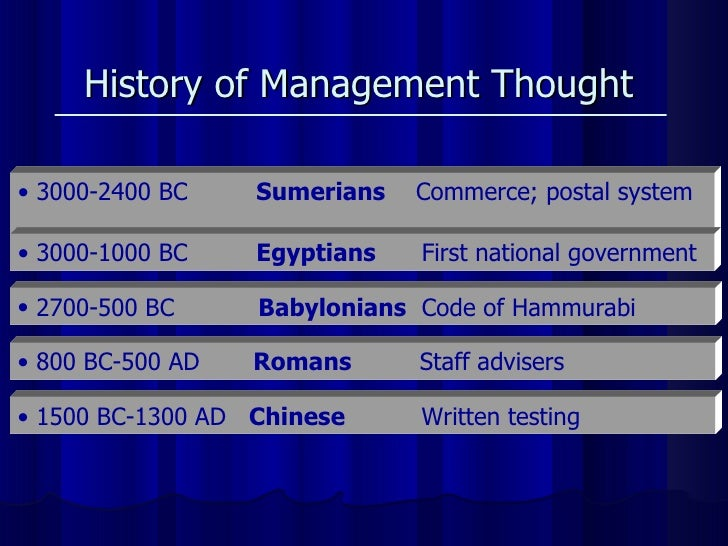 History of Management Thought   <ul><li>3000-2400 BC  Sumerians   Commerce; postal system  </li></ul><ul><li>3000-1000 BC ...