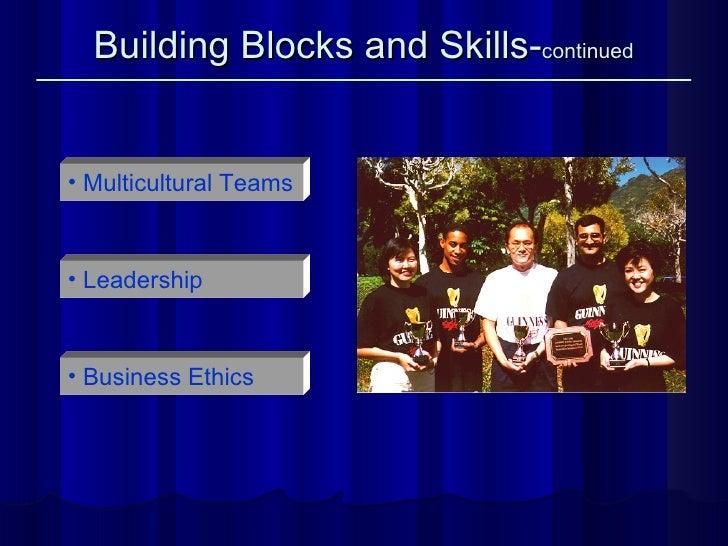 Building Blocks and Skills- continued <ul><li>Multicultural Teams </li></ul><ul><li>Leadership </li></ul><ul><li>Business ...
