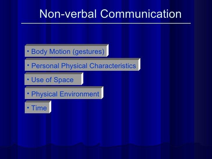 Non-verbal Communication <ul><li>Body Motion (gestures) </li></ul><ul><li>Personal Physical Characteristics </li></ul><ul>...