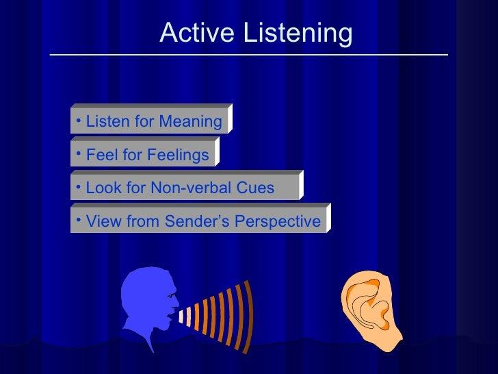 Active Listening <ul><li>Listen for Meaning </li></ul><ul><li>Feel for Feelings </li></ul><ul><li>Look for Non-verbal Cues...