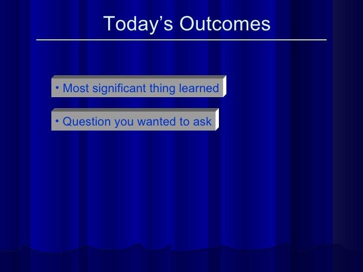 Today's Outcomes <ul><li>Most significant thing learned </li></ul><ul><li>Question you wanted to ask </li></ul>