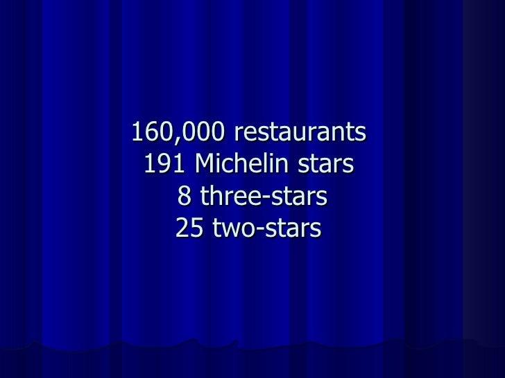 160,000 restaurants 191 Michelin stars  8 three-stars 25 two-stars