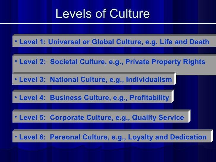 Levels of Culture   <ul><li>Level 1: Universal or Global Culture, e.g. Life and Death   </li></ul><ul><li>Level 4:  Busine...