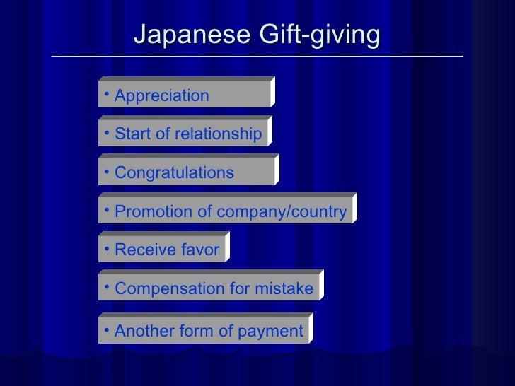 Japanese Gift-giving <ul><li>Appreciation </li></ul><ul><li>Start of relationship </li></ul><ul><li>Congratulations </li><...