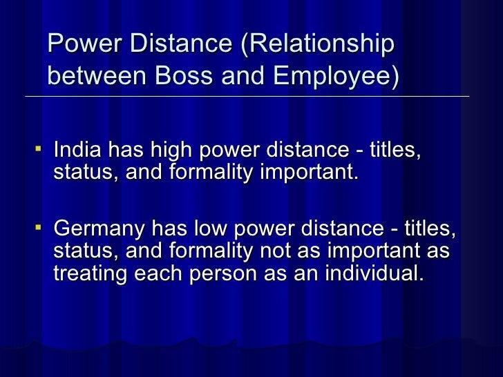 <ul><li>India has high power distance - titles, status, and formality important.  </li></ul><ul><li>Germany has low power ...