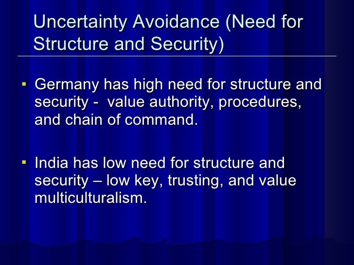 <ul><li>Germany has high need for structure and security -  value authority, procedures, and chain of command.  </li></ul>...
