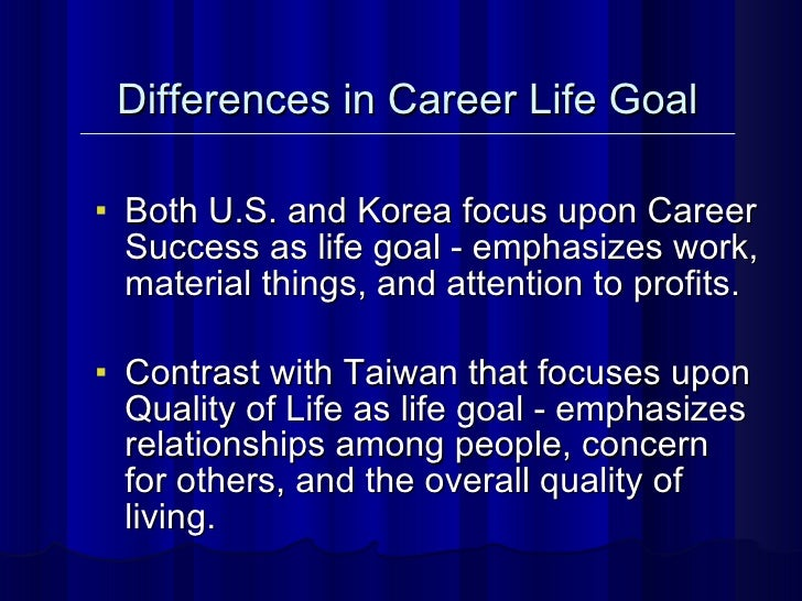 <ul><li>Both U.S. and Korea focus upon Career Success as life goal - emphasizes work, material things, and attention to pr...