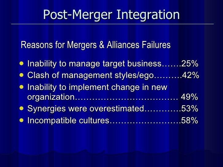 Post-Merger Integration <ul><li>Inability to manage target business…….25% </li></ul><ul><li>Clash of management styles/ego...