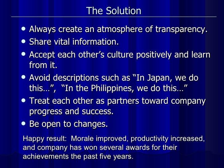 The Solution   <ul><li>Always create an atmosphere of transparency. </li></ul><ul><li>Share vital information. </li></ul><...