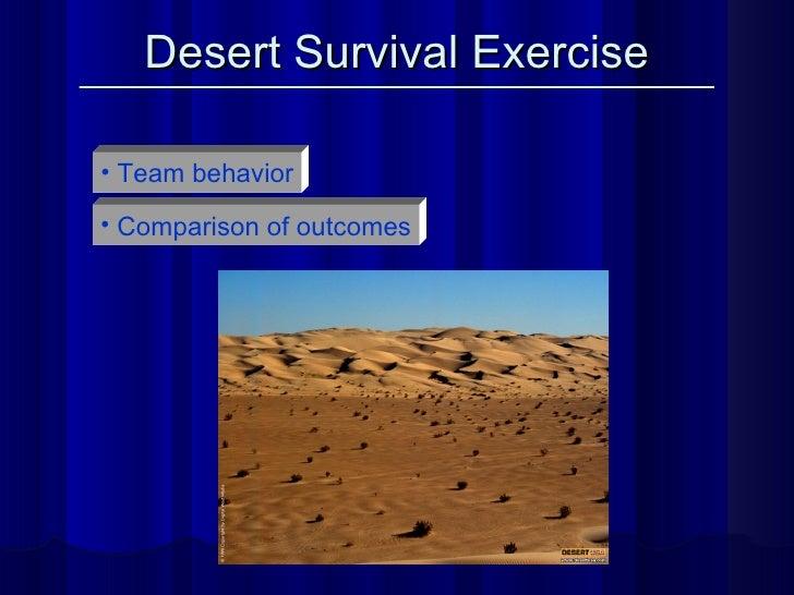 Desert Survival Exercise <ul><li>Team behavior </li></ul><ul><li>Comparison of outcomes </li></ul>