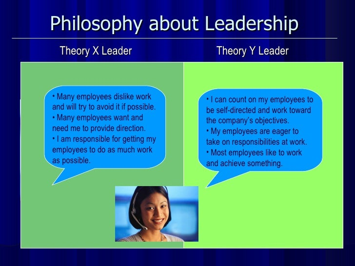 Philosophy about Leadership   Theory X Leader Theory Y Leader <ul><li>Many employees dislike work  and will try to avoid i...