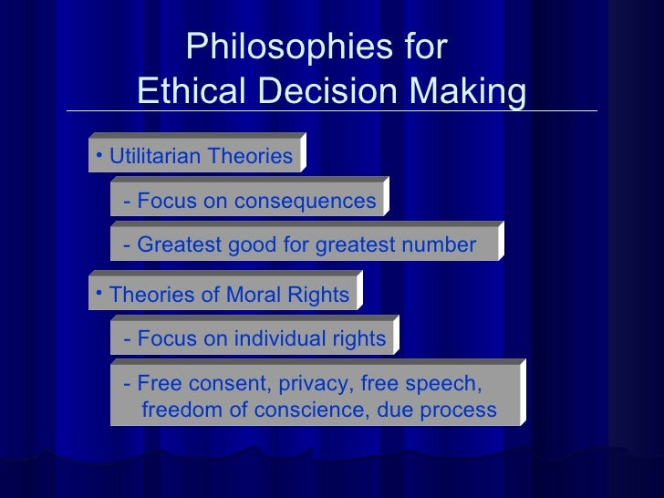 Philosophies for  Ethical Decision Making <ul><li>Utilitarian Theories </li></ul>- Focus on consequences - Greatest good f...