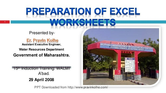 Presented by- Assistant Executive Engineer, Water Resources Department Government of Maharashtra. 15th Induction Training:...