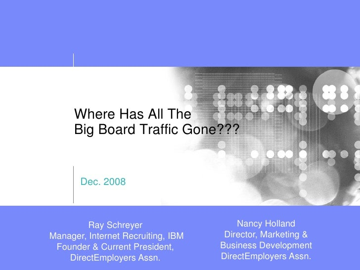 Where Has All The       Big Board Traffic Gone???          Dec. 2008                                            Nancy Holl...