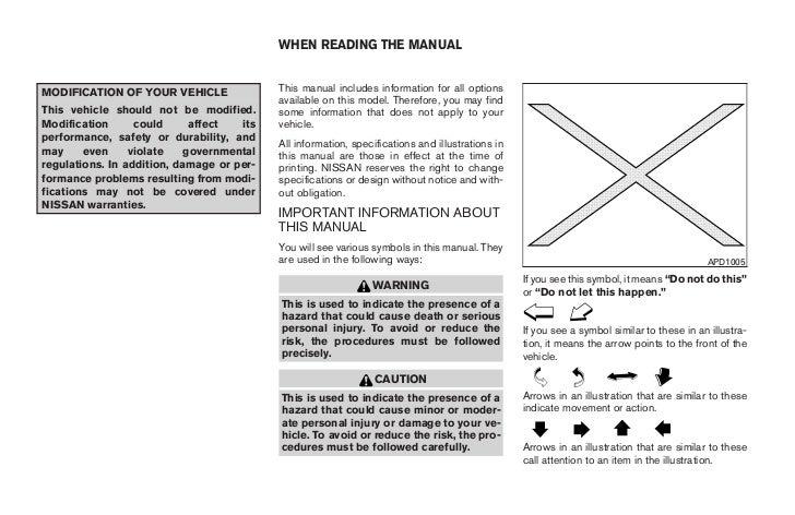 2008 xterra owner s manual rh slideshare net 2002 Nissan Xterra Manual Nissan Xterra Manual Transmission